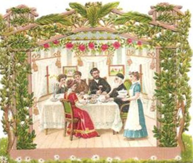 Holiday greeting cards circa 1900 yiddishkeit central sukkot in booth 640 m4hsunfo